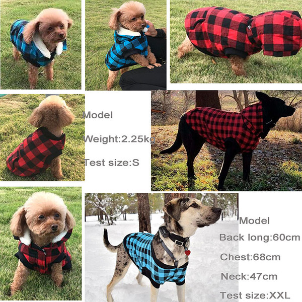 Dog Plaid Shirt Upgrade Version Warm Soft Red Blue Dog Winter Coat for Small Medium and Large Adorable Dog Hoodies