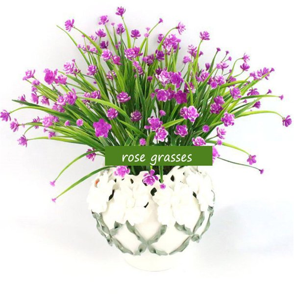 Artificial 1 Bunch Floral Bouquet Water Grass Rose Fake Flower Arrangement Table Decoration Wedding Home Party Accessory