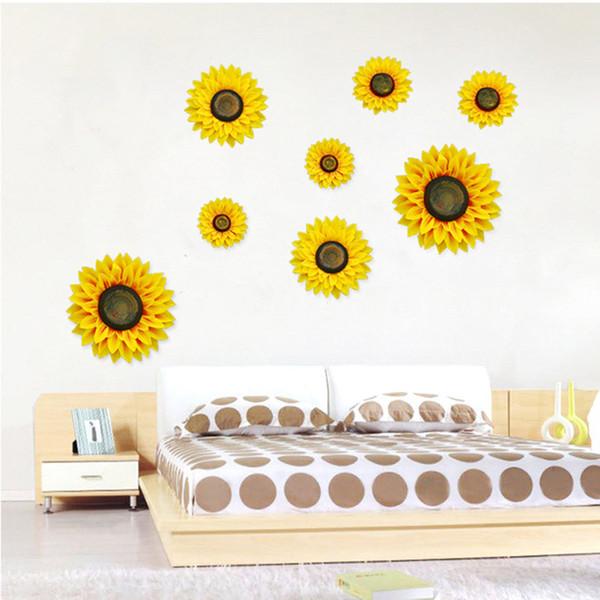 Creative Sunflowers Decorations Living Room Bedroom Party Decorations Simulation Sunflowers Wall Stickers Romantic Plants Decorative 3D