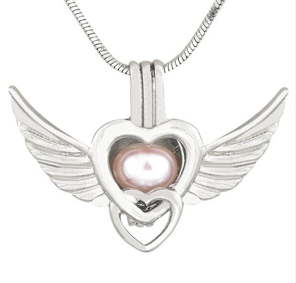 Gorgeous Angel Wings Charms Pendant Fashion Pearl Cage Pendant Love Wish Pendant Lockets 5pcs Mix Styles Lovers Gifts CP021