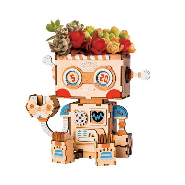 Robotime 3D Wooden Robot Puzzle Game Creative Flower Pot Storage Box Penholder Models Building Kits Toy for Children Adult FT761