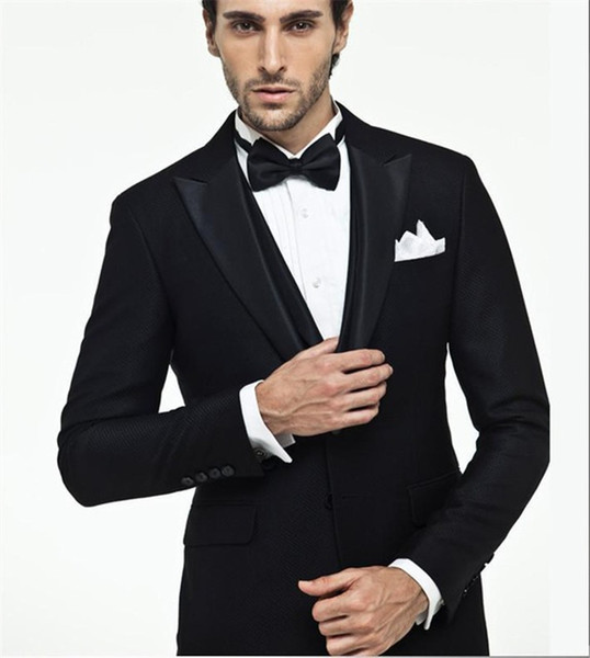 Tuxedo Styles Slim Fit Suits Men Notch For Wedding Groomsmen Suits Custom Made Best Men Suits (Jacket+Pants+Tie+Vest)