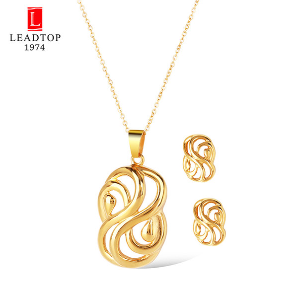 Bowknot Bridal Jewelry Sets Stainless Steel Dubai Gold Jewellery Women Knot Wedding Necklace Link Chain 18 inch Unique Gift Set