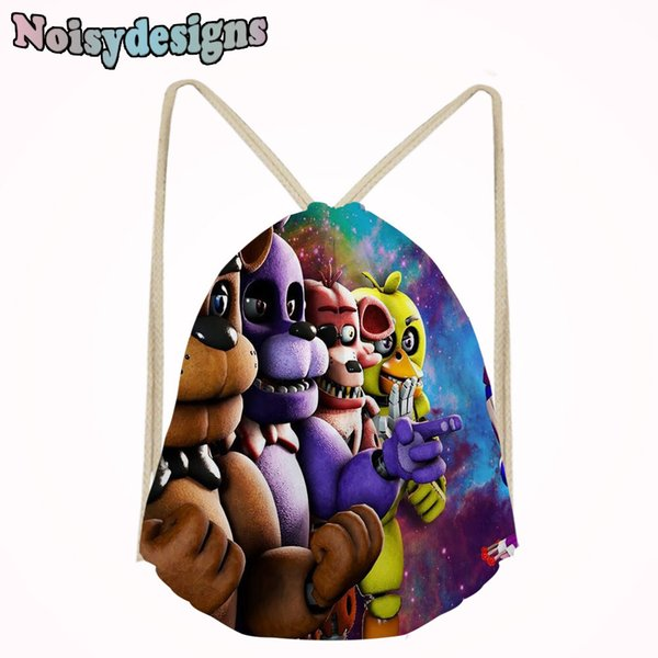 Casual Men's Backpack Shoe Pocket Small Drawstring Bag for Boys Girls Famous Game Five Nights at Freddy's Printed Kids String