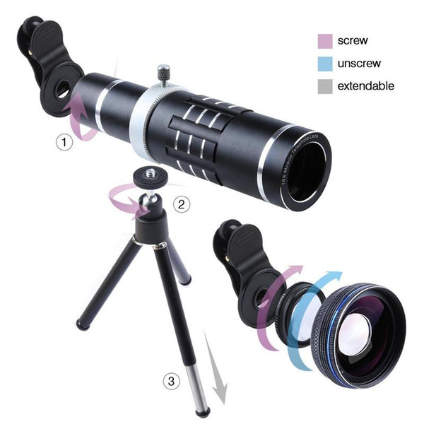 18x Telescope Camera Zoom Optical Cellphone Telephoto Lens HX-1821 For Iphone 7 6 SE Samsung With HD 0.45x Super Wide Angle lentes
