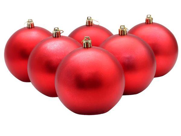 6pcs Christmas Ball Solid Color Decorative Shiny Plastic Ornament Ball 10CM For Christmas Decor
