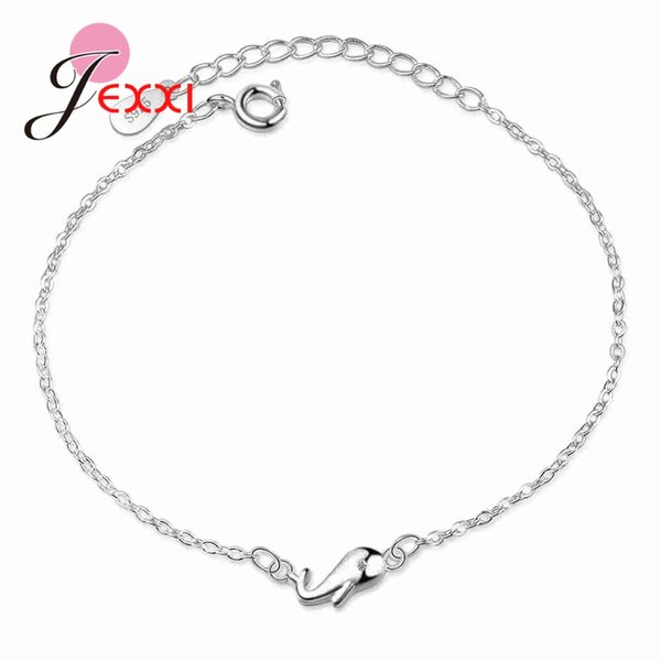 JEXXI Pure 925 Sterling Silver Sweet Gifts For Girls Birthday Cute Aniamls Dolphin Design High Quality Bracelets&Bangles Jewelry