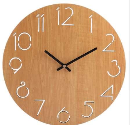 Hot Sale Creative Wall Clock Living Room Minimalist Modern Home Round  Personality Silent Solid Wood FashionLight Brown Electric Clock Electric  Kitchen ...