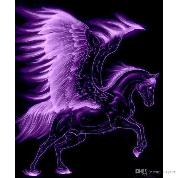 Compre Pegasus 5d Diy Pintura Diamante Completa Bordado Inlay Animal Roxo Asas Dos Desenhos Animados Presentes Artesanato Mural Decoração De Festa Em
