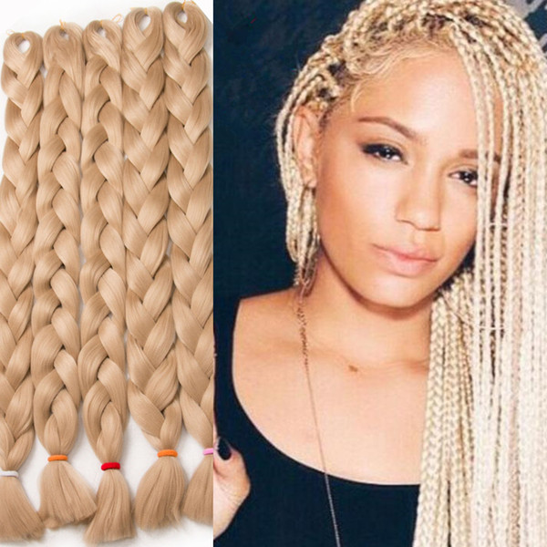 2019 Braiding Hair Xpression Braids African Ultra Braid 82 Inch 165g Synthetic Hair For Braids Blonde White Blue Green Purple Red Y Demand From