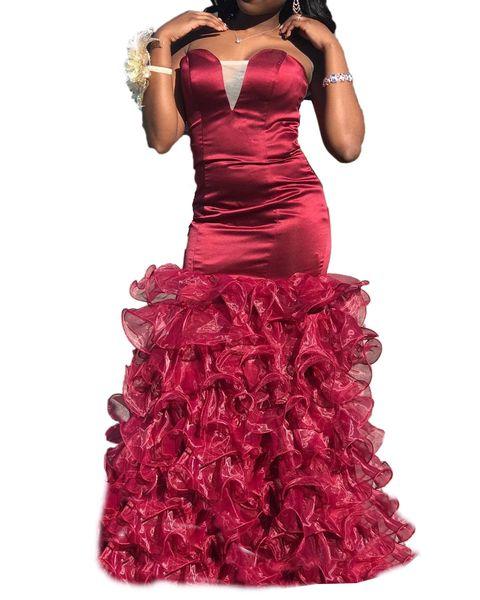 Mermaid Burgundy Prom Dresses sweetheart Ruffles Organza Skirt Floor Length Long Evening Dress Party Gowns Custom Made