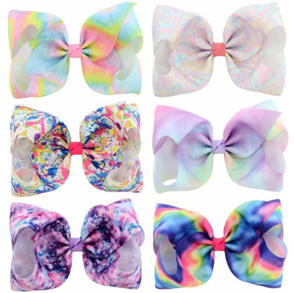 top popular Quenya 8 Inch Rhinestone floral printed Hair Bows Jojo Bows With Clip For Baby Children Large Sequin Bow Unicorn hair Bows Mermaid Hair Clip 2019