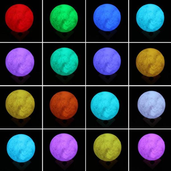 22 cm Tam Luna Topu Şekilli Elektrikli Akülü Masa Led Gece Lambası 3d Baskı Ay Lambası