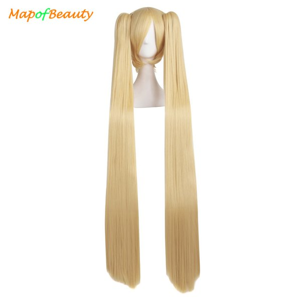 MapofBeauty long straight cosplay wigs Blonde black white blue 4colors 2 Ponytails 120cm Costume Party Shape Claw Synthetic hai