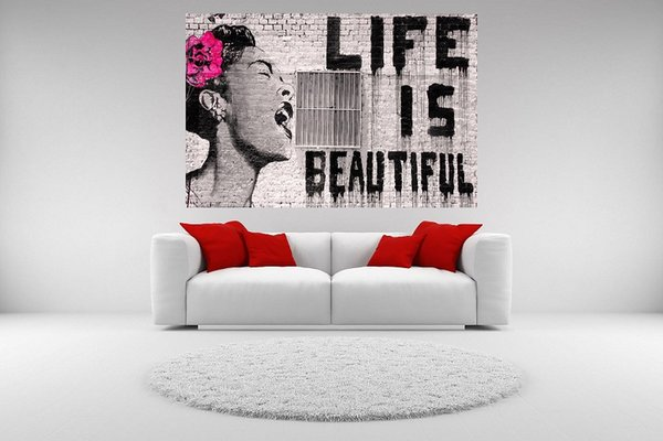 High Quality Banksy Street Graffiti Life is Beautiful HD Print Canvas Wall Art Home Decor Prints,Multi Sizes Options Pr141!