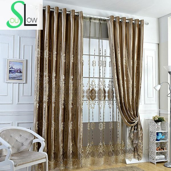 Coffee Italy Velvet Shade Curtain Laser Embroidered Living Room Voile Curtains Bedroom Luxury Fabric Tulle And For Drapes French