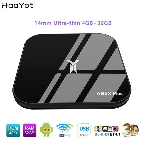 A95X Plus Ultra-thin Android 8.1 TV BOX Amlogic 4GB DDR4 32GB 2.4/5.8 WIFI Smart tvbox 4K Media Player IPTV Set-top box smartbox