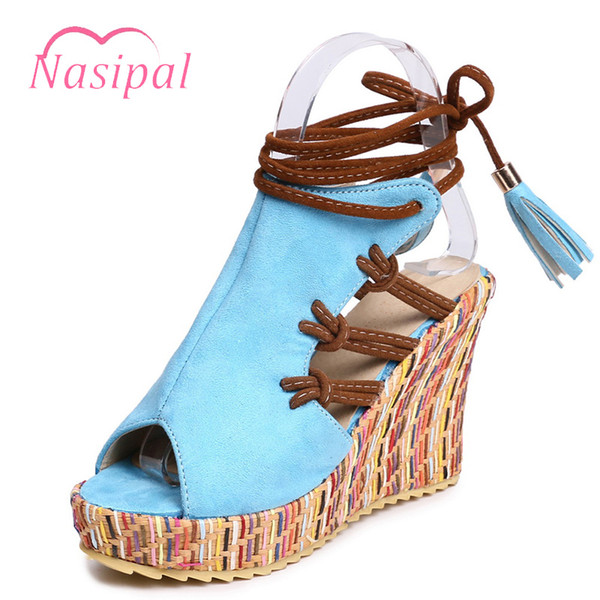 venta al por mayor sandalias de cuña de estilo enthnic informal peep toe zapatos de gladiador de Bohemia mujer recortes cordones zapatos de plataforma sandalias C613