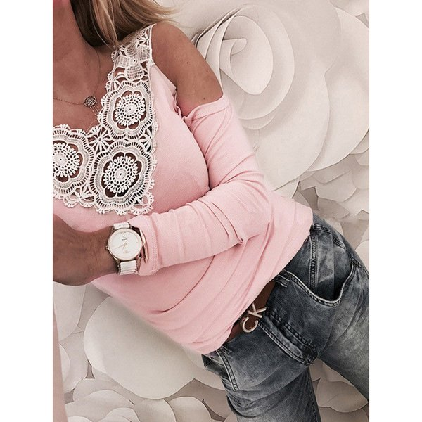 Korean Off The Shoulder T-shirt Women Sweet Lace Crochet V-neck Tee Casual Fashion Party Elegant Pink Slim Fit Tops T-shirts