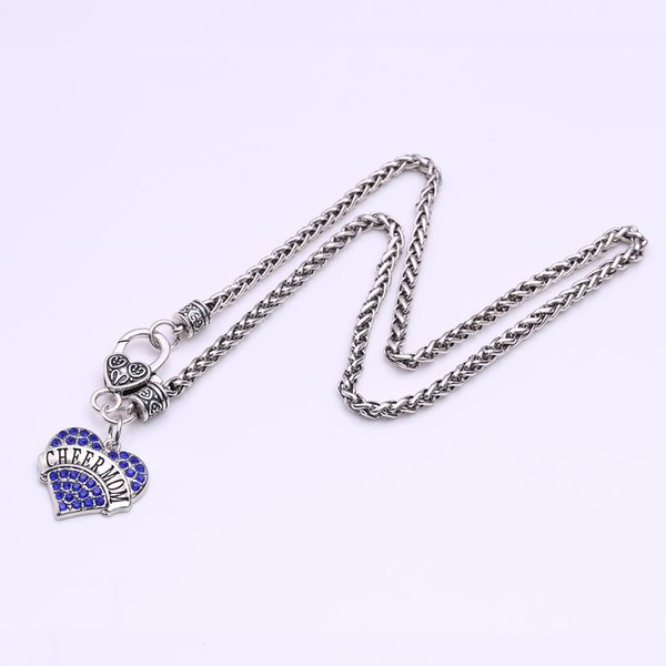Drop Shipping New Arrival rhodium plated zinc studded with sparkling crystals CHEER MOM heart pendant wheat link chain necklace