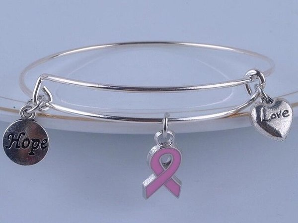 Hope Breast Cancer Awareness Ribbon Charm Expandable Wire Bangles Vintage Silver Cuff Bangles For Women Jewelry Fashion Gift Accessories