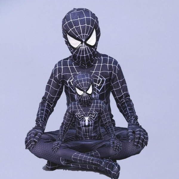Cosplay Spandex zentai evil black spiderman costume Halloween costumes for kids Children superHero Cosplay Full bodysuit Custom
