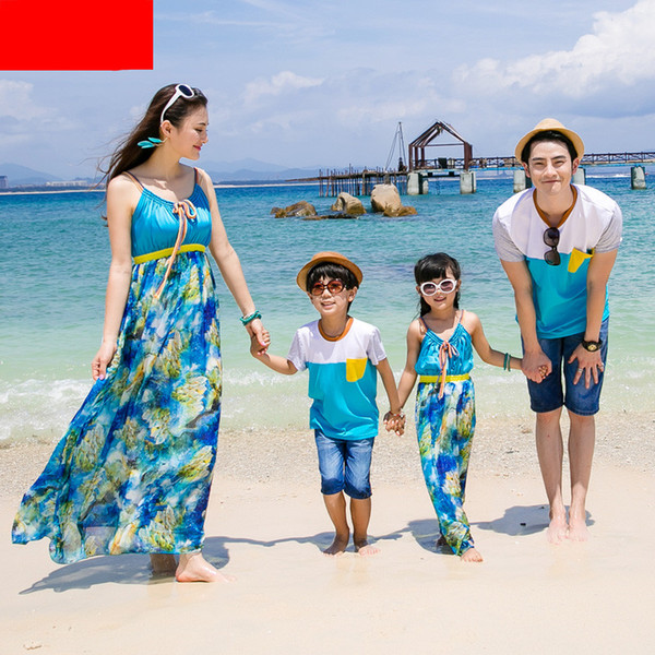 2018 Matching Mother Daughter Dresses Girl and Mother Chiffe Maxi Dress Dad Mother Son Outfit Ma E Filha Family Matching Clothes