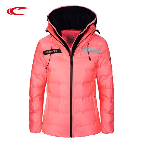 SAIQI Long Duck Down Jacket For Women Waterproof Hooded Coat Hiking Outerwear Clothes Ski Thick Jacket Outdoor Down 1020