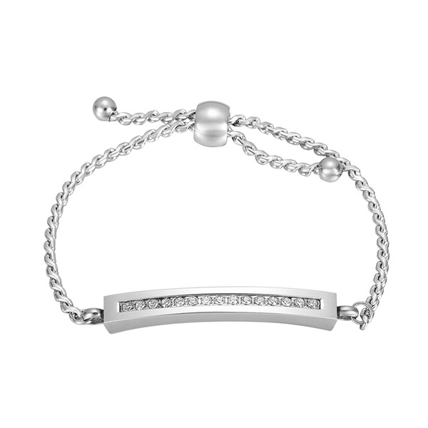 Adjustable Women Memorial Bracelet Crystal Inlay Cremation Bracelet Stainless Steel Shiny Silver Funeral Ash Holder Keepsake Jewelry