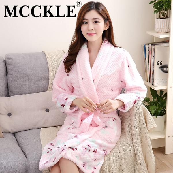 MCCKLE Autumn Winter Women Sleepwear Robes 2018 Thick Flannel Kimono Long Sleeve Home Wear Bathrobes Sexy Warm Women's Robes