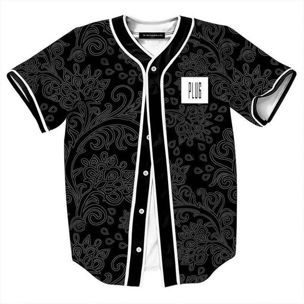 Summer style Black Shirts for Men Retro China Flowers Print Baseball Jersey Male Casual V-Neck Camisetas Masculinas Estampas