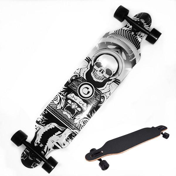 Profesyonel Kafatası Desen Kaykay Çocuk Yol Longboard Skid Direnç Skate Board 4Wheels Yokuş Aşağı Sokak Uzun Kurulu