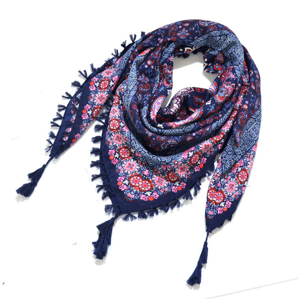 2018 Women Autumn Printing Cotton Square 115*115cm Scarf Bohemia National Wind Floral Pashmina Jacquard Towel Muslim Headscarf