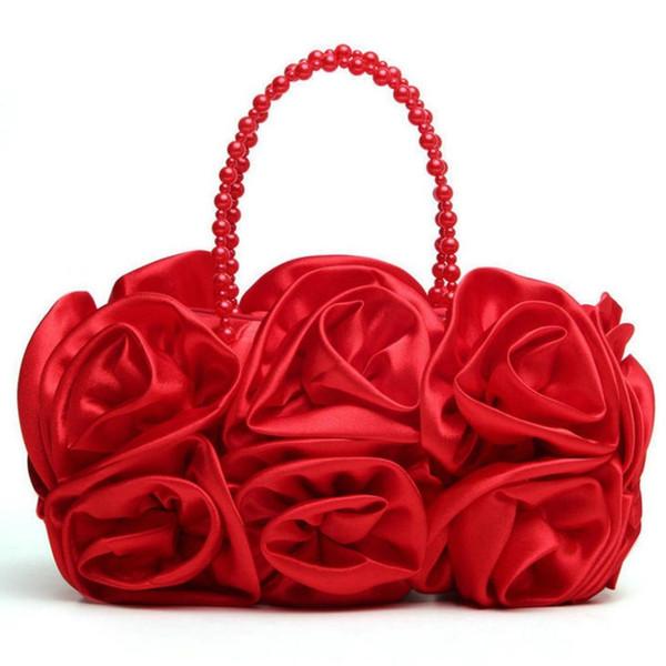 Fashion Womens Handbag Totes For Wedding Party Phone Money Bag Wallet Evening Clutch Rose Flower Bride Evening Bag