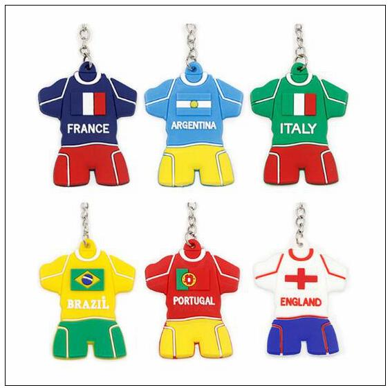 2018 World Cup Football Jersey Keychain portachiavi in ​​PVC Charms cellulare ciondolo borsa regalo ricordo CCA9581 360pcs