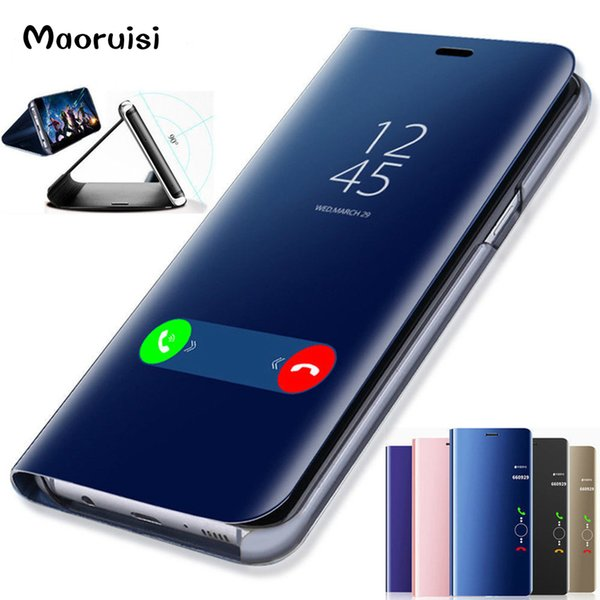 Maoruisi Clear View Smart Mirror Phone Case For Samsung Galaxy S9 S8 S7 S6 Edge Plus For Note 8 5 For A3 A5 A7 A8 2017 2018 Case