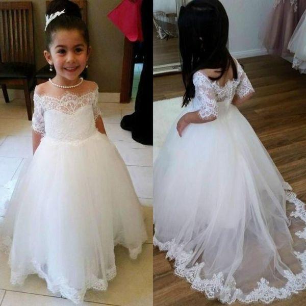 Compre 2019 Vestido De Fiesta Blanco Vestidos De Niña De Flores Para Bodas Apliques De Hombros Vestido De Primera Comunión Vestidos De Fiesta De
