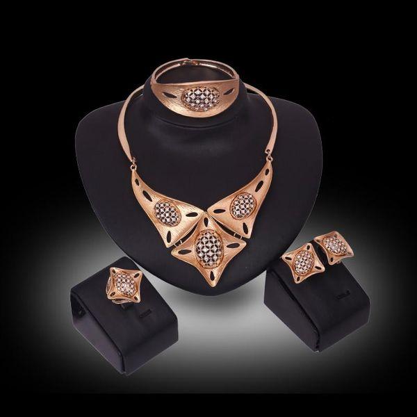 Bangle Necklace Earrigs Ring Jewelry Set Luxury Women Rhinestone 18K Gold Plated Geometric Square & Oval Party Jewelry 4-Piece Set JS235
