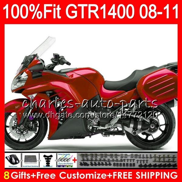 KAWASAKI Koyu NINJA GTR1400 İçin Enjeksiyon Gövdesi 08 09 10 11 116HM11 GTR-1400 GTR 1400 ALL 2008 2009 2010 2011 parlak kırmızı Fairing Kit + 8Gifts
