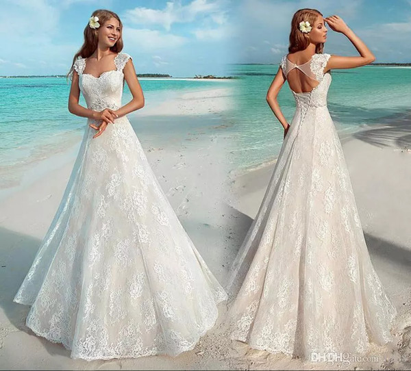 New Elegant Summer Beach Wedding Dresses Vintage Full Lace Cap Sleeve Sexy Open Back Lace Up Bridal Gowns Cheap Custom Made