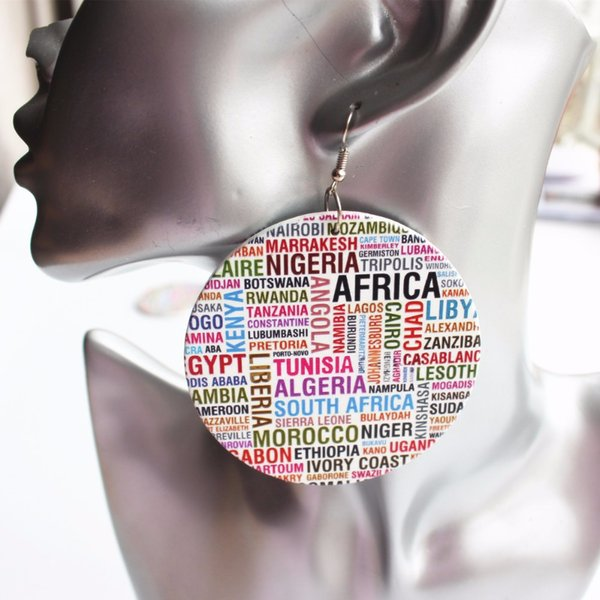 5 paires de prix en gros pays africain nom rond boucles d'oreilles en bois Drop For Women Party