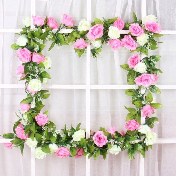 2019 Wedding Decoration Vintage Retro Artificial Flower Silk Rose Rattan Fake Flower Vine Hanging Ceiling Garland Wedding Home Xmas Decor Rattan From