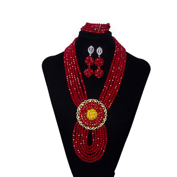 AMYNOVA Red 6 Rows Women Party Beaded Crystal Necklace African Beads Jewelry Set Bridal Costume Nigerian Wedding Beads Jewelry Set