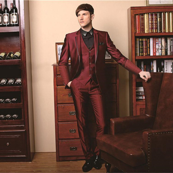 One Button Groom suits for Wedding 2016 The Best Man Suits For mens Suits Business Party tuxedos (Pant+Jacket+Vest) Custom Made