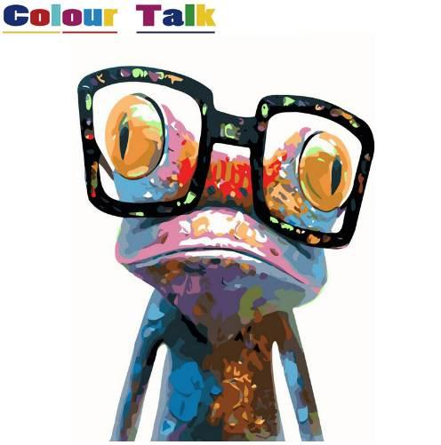Animals DIY Painting By Numbers Kits Poster Pictures Paint Canvas Coloring Paintng By Numbers For Home Wall Decor Frog P-5091
