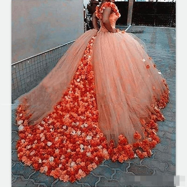Luxury 3D Floral Ball Gown Prom Dresses 2018 Modest Off-shoulder Cathedral Train Quinceanera Dresses Sweety 15 Girls Masquerade Gowns