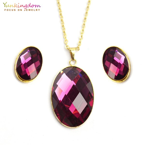 Yunkingdom oval purple acrylic crystal jewelry sets for women fashion stainless steel jewelry set chain necklace earring UE0144