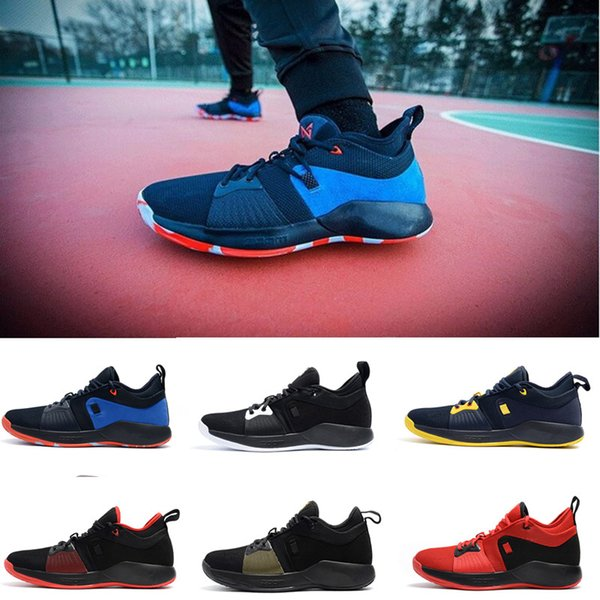 2018 New Arrival Paul George 2 Basketball Shoes for Men's Top quality PG2 Black White Red Blue Yellow Brown PG 2s Sports Sneakers Size 40-46