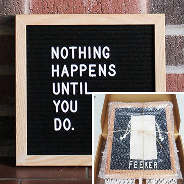 top popular 10x10 Black Felt Letter Board 340 Characters Letters FREE Craft Knife Cloth Pouch Oak Wood Frame Easels DIY Message boards drop shipping 2019