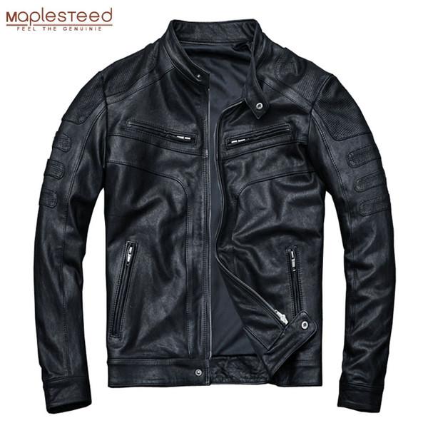 MAPLESTEED Tabaklanmış Deri Ceket Erkekler 100% Koyun Hakiki Deri Ceket Slim Fit Siyah Erkek Ceket Bahar Sonbahar M110